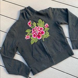 Lucky Brand 🍀 Flower Zip Up Sweatshirt